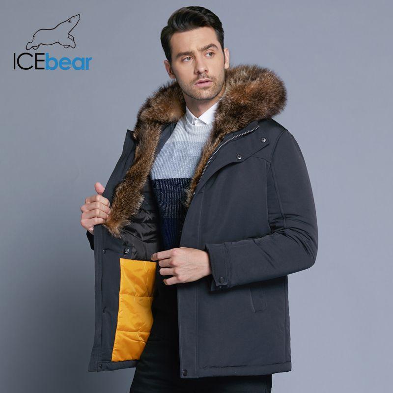 ICEbear 2019 neue winter herren jacke hohe qualität pelz kragen mäntel winddicht warme jacken mann mantel lässig kleidung MWC18837D