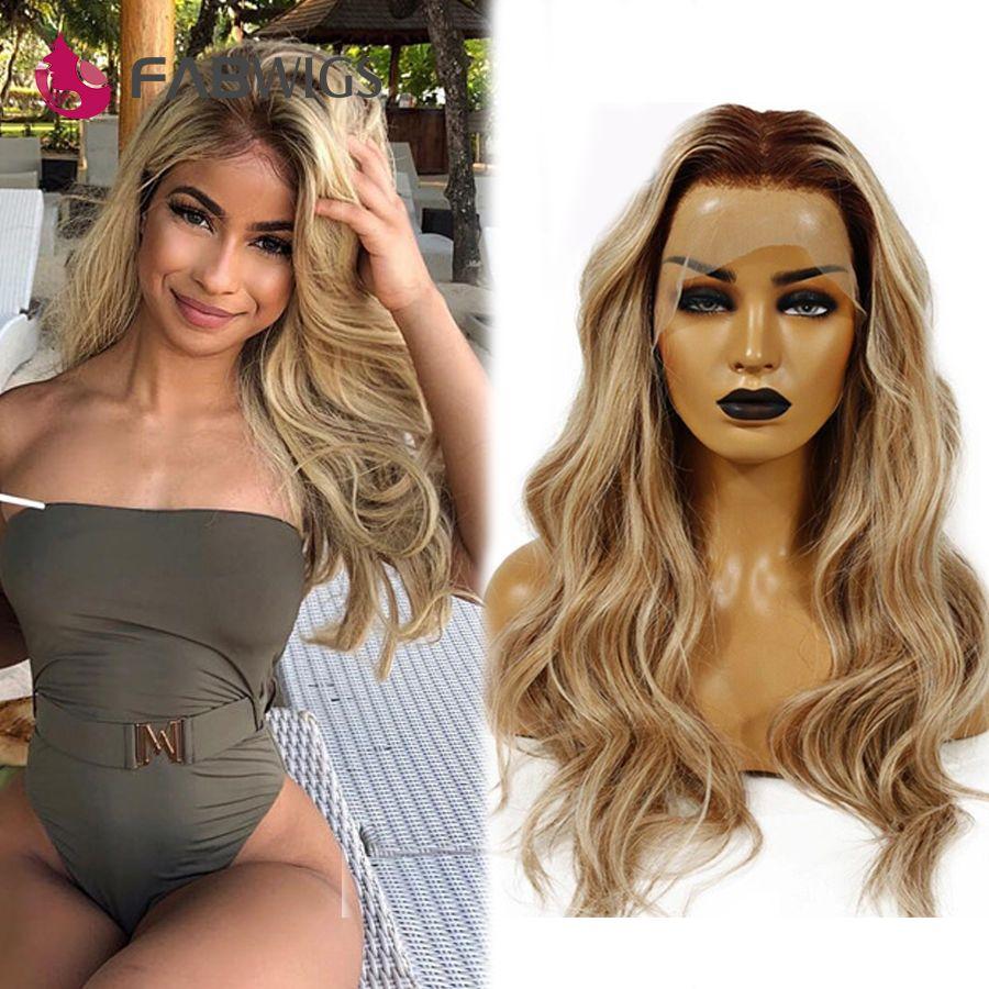 Fabwigs 180% Dichte Highlight Lemi Farbe T4/27/613 Spitze Front Menschliches Haar Perücken Pre Gezupft 13x4 brasilianische Remy Blonde Spitze Perücken