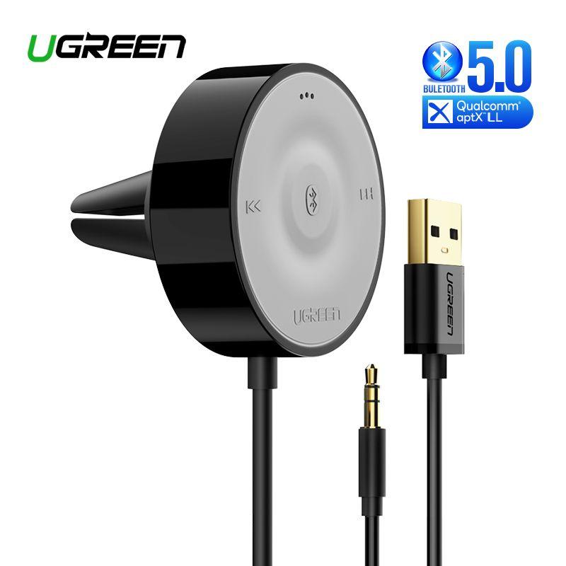 UGREEN Bluetooth 5.0 Kit récepteur de voiture aptX LL sans fil 3.5 adaptateur AUX pour haut-parleur de voiture USB Bluetooth 3.5mm Jack récepteur Audio