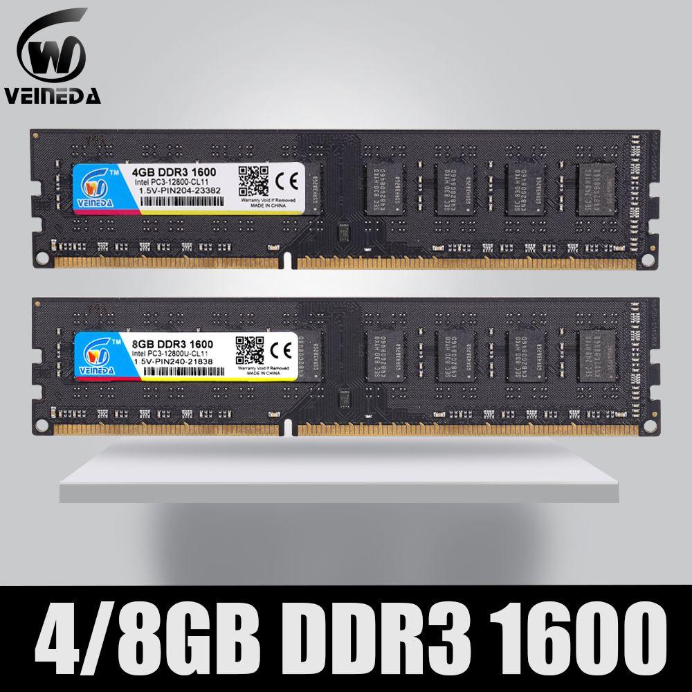 Ram Dimm DDR3 2 gb/4 gb/8 gb 1600 PC3-12800 mémoire Ram pour tous les ordinateurs de bureau Intel et AMD compatibles ddr 3 1333 Ram