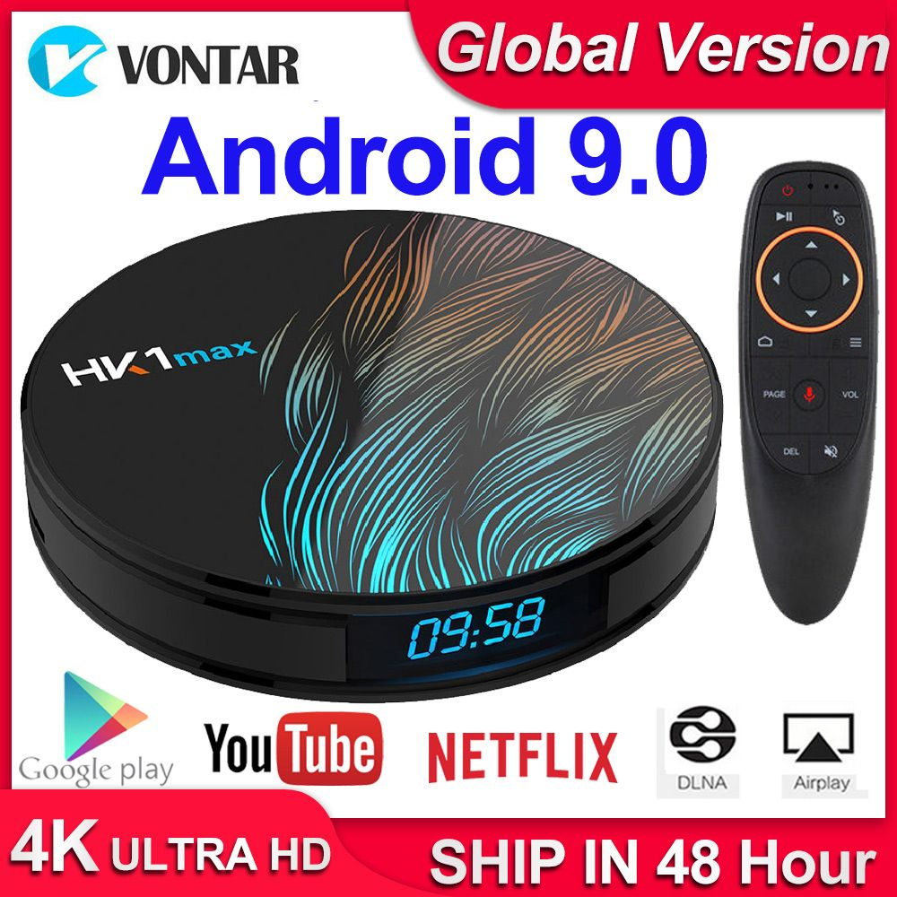 HK1 Max Android 9.0 Smart TV boîtier décodeur 4GB RAM 64GB 128GB 4K Youtube H.265 BT4.0 Google Play store Netflix Android Box