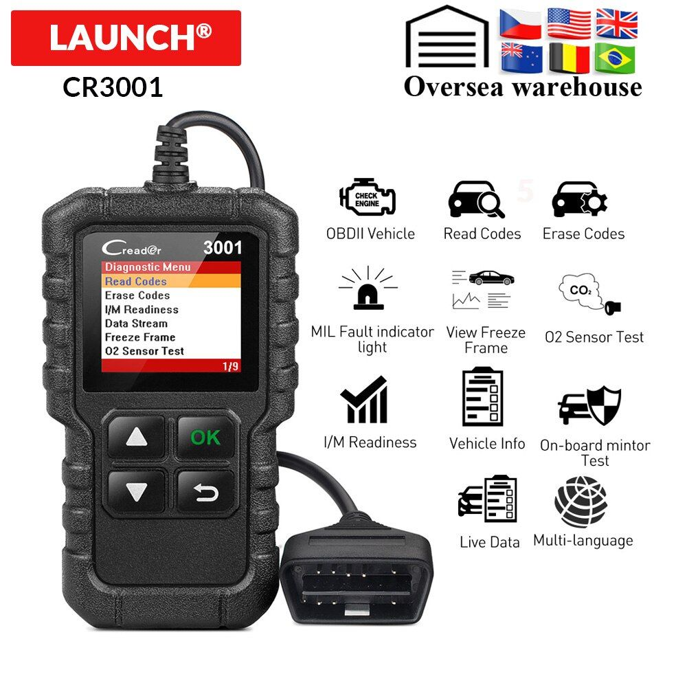 LAUNCH X431 CR3001 Full OBD2 Scanner OBD 2 Engine Code Reader Creader 3001 Car Diagnostic tool PK CR319 AD310 ELM327 Scan tool