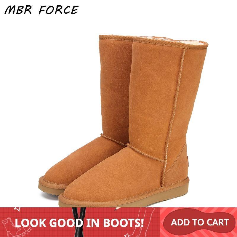 MBR FORCE en cuir véritable fourrure bottes de neige femmes haut de haute qualité australie bottes bottes d'hiver pour les femmes chaudes Botas Mujer