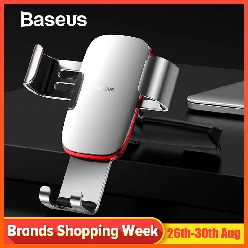 Baseus Gravity Car Phone Holder for Car CD Slot Mount Phone Holder Stand for iPhone X Samsung S10 Metal Cell Mobile Phone Holder
