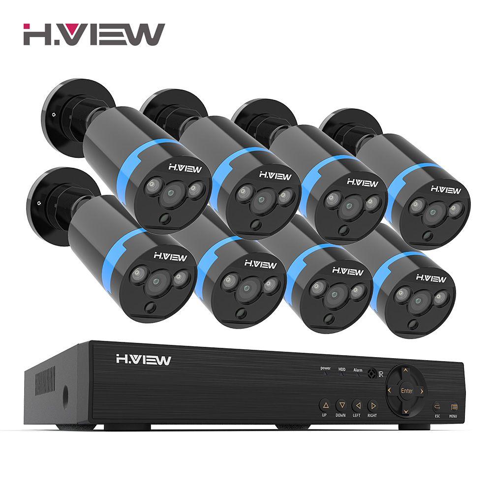 H. view Sicherheit Kamera System 8ch Video Überwachung Kit 8 stücke 1080P CCTV Kamera 2.0MP Outdoor Video Überwachung Straße
