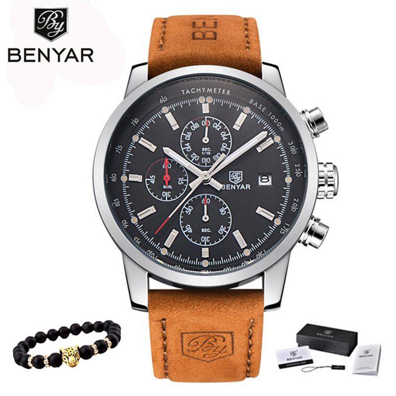 BENYAR montres hommes marque de luxe montre à Quartz mode chronographe montre Reloj Hombre Sport horloge homme heure Relogio Masculino