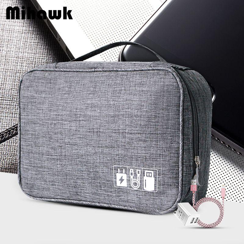 Mihawk étanche numérique sacs voyage USB câble fourre-tout fils de disque dur boîtier batterie externe téléphone portable Organization pochette accessoires