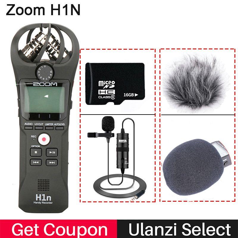 ZOOM H1N enregistreur pratique appareil photo numérique enregistreur Audio entretien enregistrement Microphone stéréo pour DSLR Boya Microphone BY-M1
