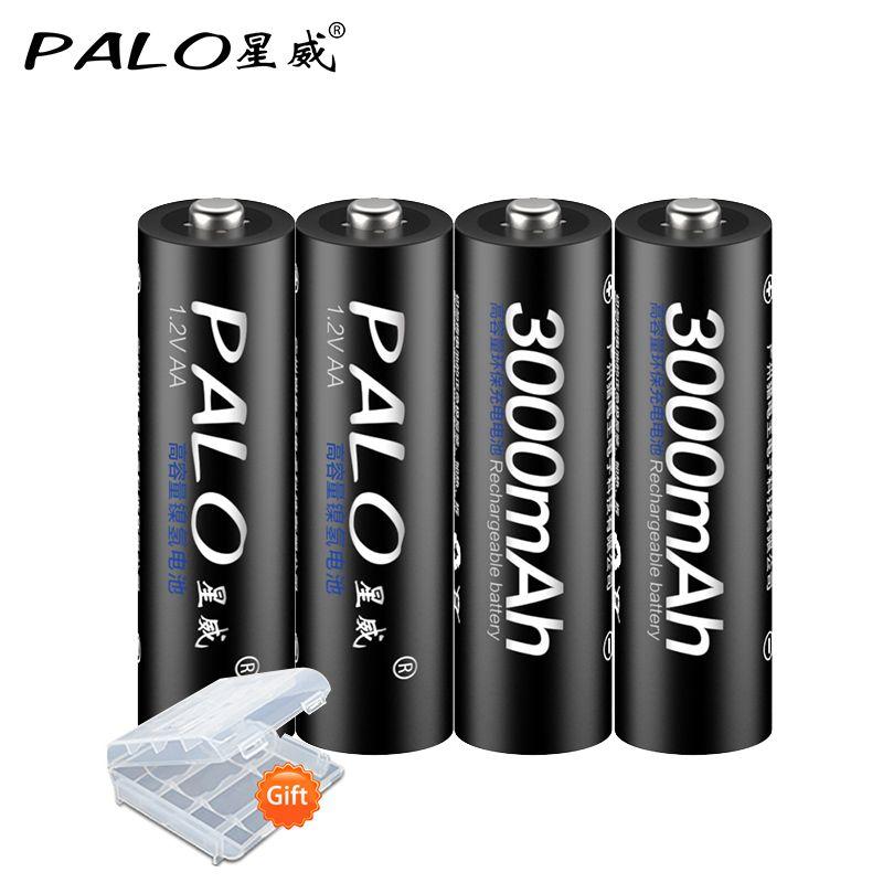 4 Pcs/lot PALO 1.2V 3000mah NI-MH batterie Rechargeable pré-chargée 2A batteries pour voitures jouets/caméra/horloge pour le brésil livraison gratuite