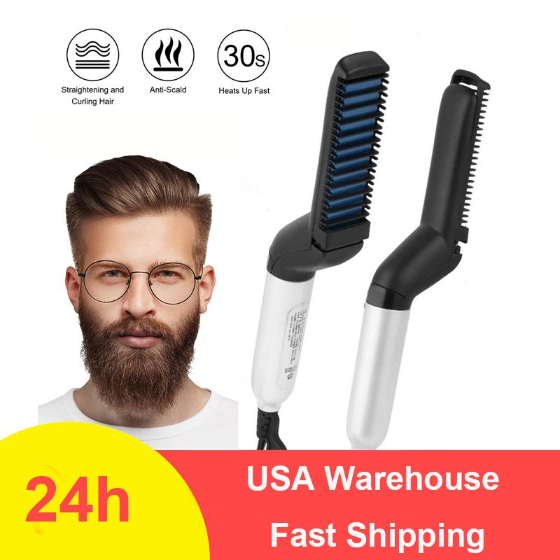Multifonctionnel barbe lisseur chauffé homme cheveux barbe fer plat redressage rapide barbe brosse Show Cap outil livraison directe