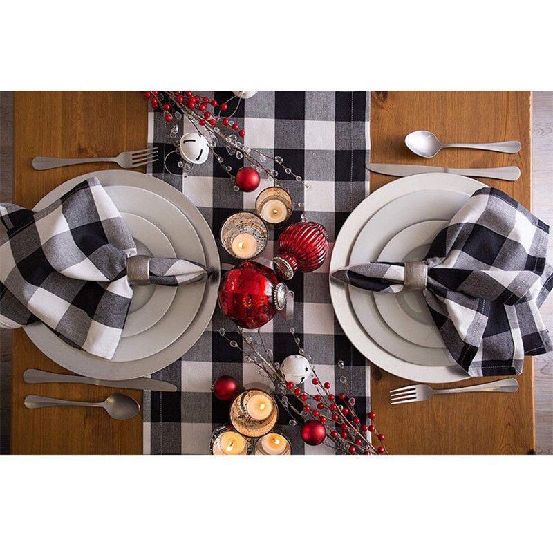 MTL check plaid motif coton chemin de table tapis de Table serviette tissu décoration