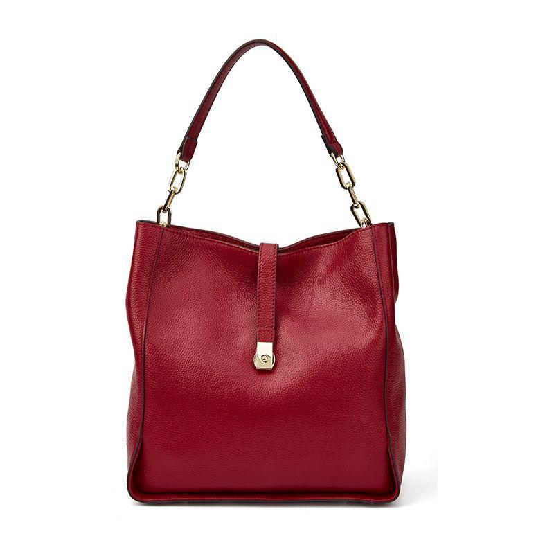 Qiwang marque en cuir véritable femmes noir Hobo sac femmes Designer en cuir sac à main en cuir véritable seau sac chaîne sac à main Amazon vente