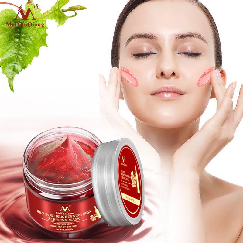 Vin rouge Essence masque pour le visage dormant masque nourrissant blanchissant hydratant Nutrition réparation égayer la peau Gel nuit