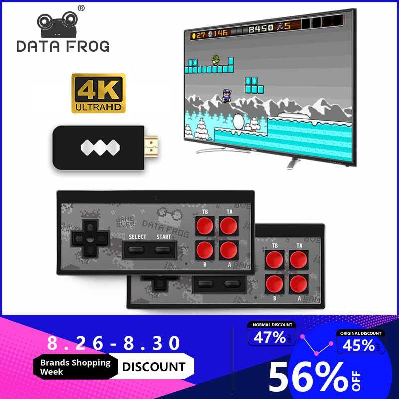 Données grenouille USB sans fil portable TV Console de jeu vidéo construire en 600 jeu classique 8 bits Mini Console vidéo prise en charge AV/HDMI sortie