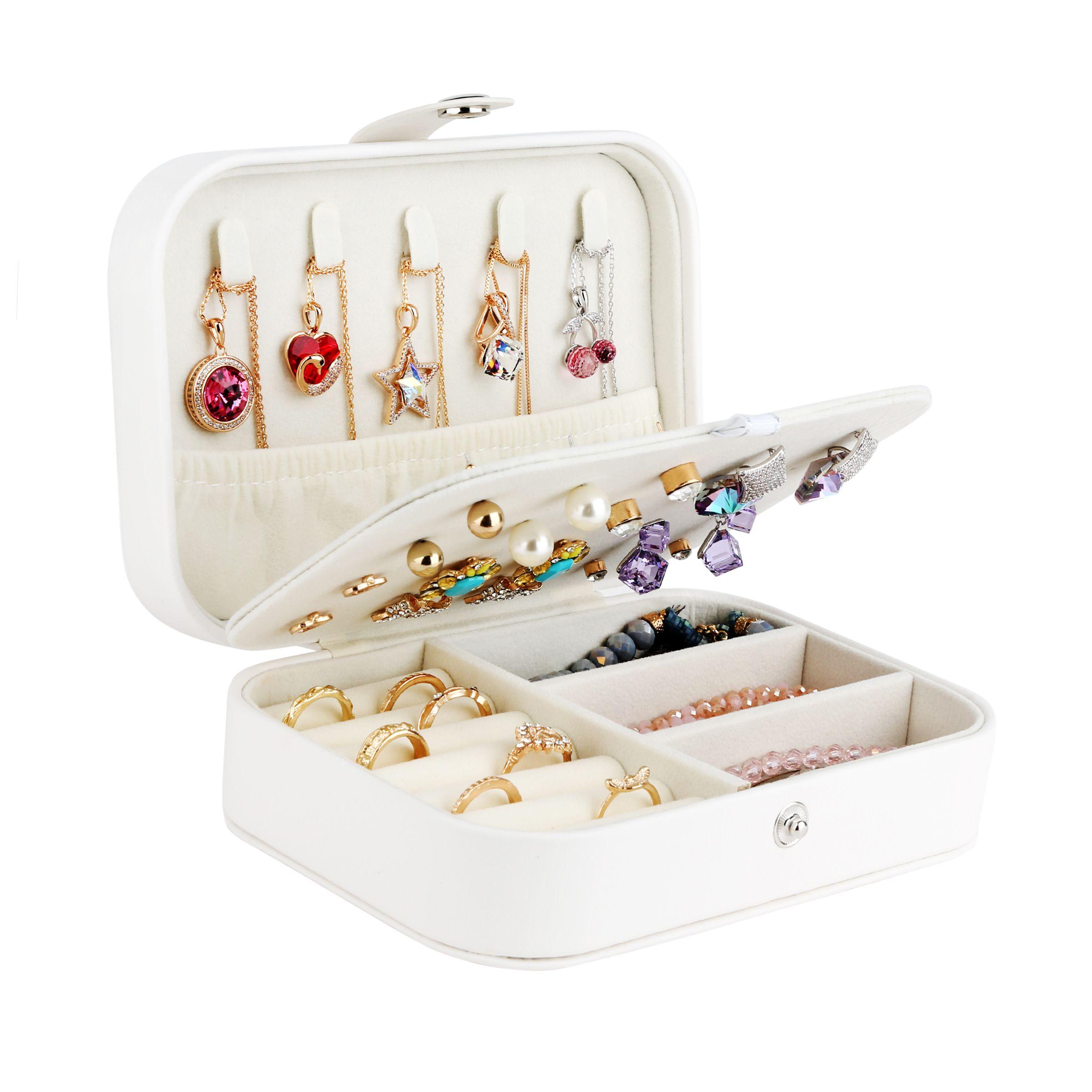 Boîte à bijoux voyage cosmétique bijoux cercueil organisateur maquillage rouge à lèvres boîte de rangement beauté conteneur collier cadeau d'anniversaire