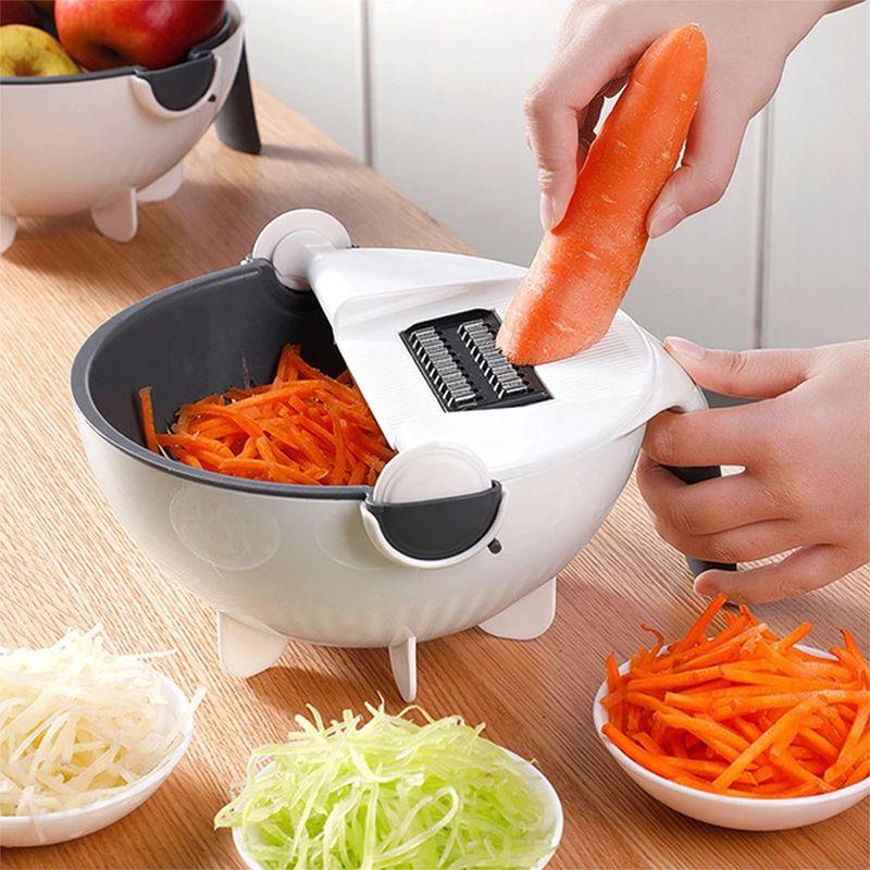 Magic Multifunctional Rotate Vegetable Cutter With Drain Basket Kitchen Veggie Fruit Shredder Grater Slicer Drop Shipping
