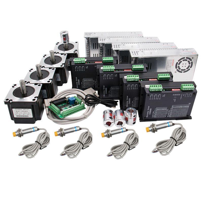 4 achsen CNC kit Nema 34 1230Oz-in/5.6A 8.5N Stepper Motor & 80VDC 256 Mikro motor fahrer CW8060 SP für CNC Fräsen Maschine