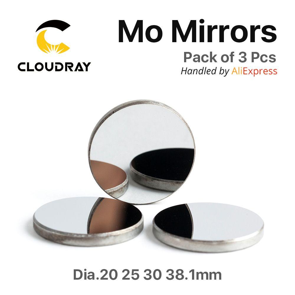 Cloudray Haute Qualité Mo Miroir Dia. 15 19.05 20 25 30 38.1mm THK 3mm pour Laser CO2 Gravure De Coupe Machine Pack de 1 Pcs/3 Pcs