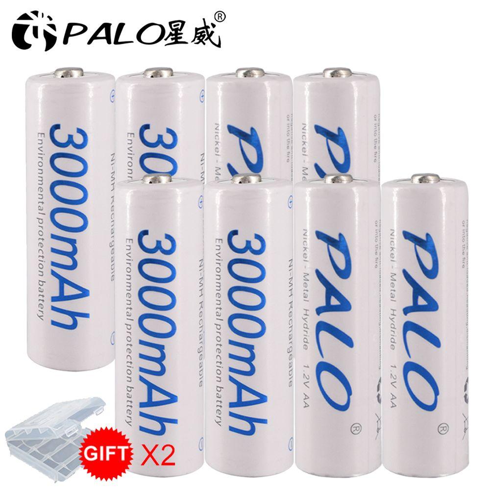 8 pièces AA Batterie Batteries 1.2V AA 3000mAh Ni-MH préchargé Batterie Rechargeable 2A pour Appareil Photo