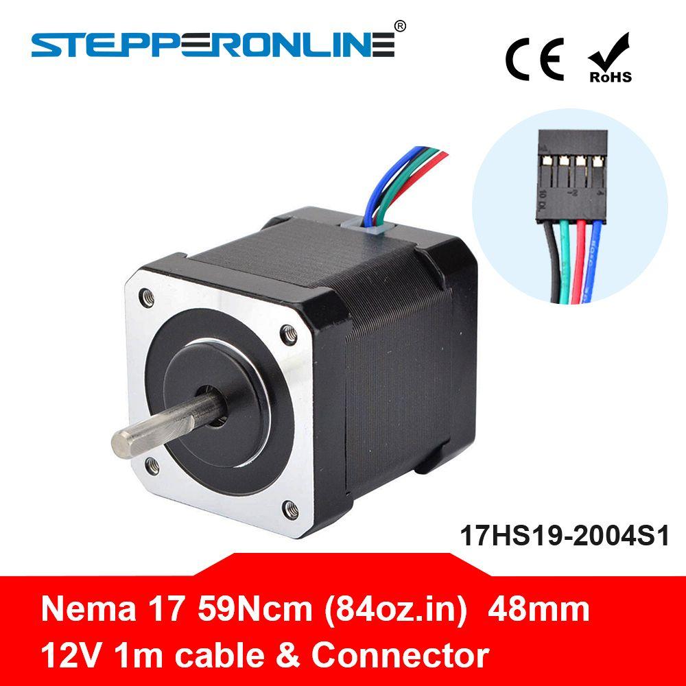 Nema 17 Stepper Motor 48mm Nema17 Step Motor 42BYGH 2A 4-lead (17HS19-2004S1) Motor 1m Cable for 3D Printer CNC XYZ Motor