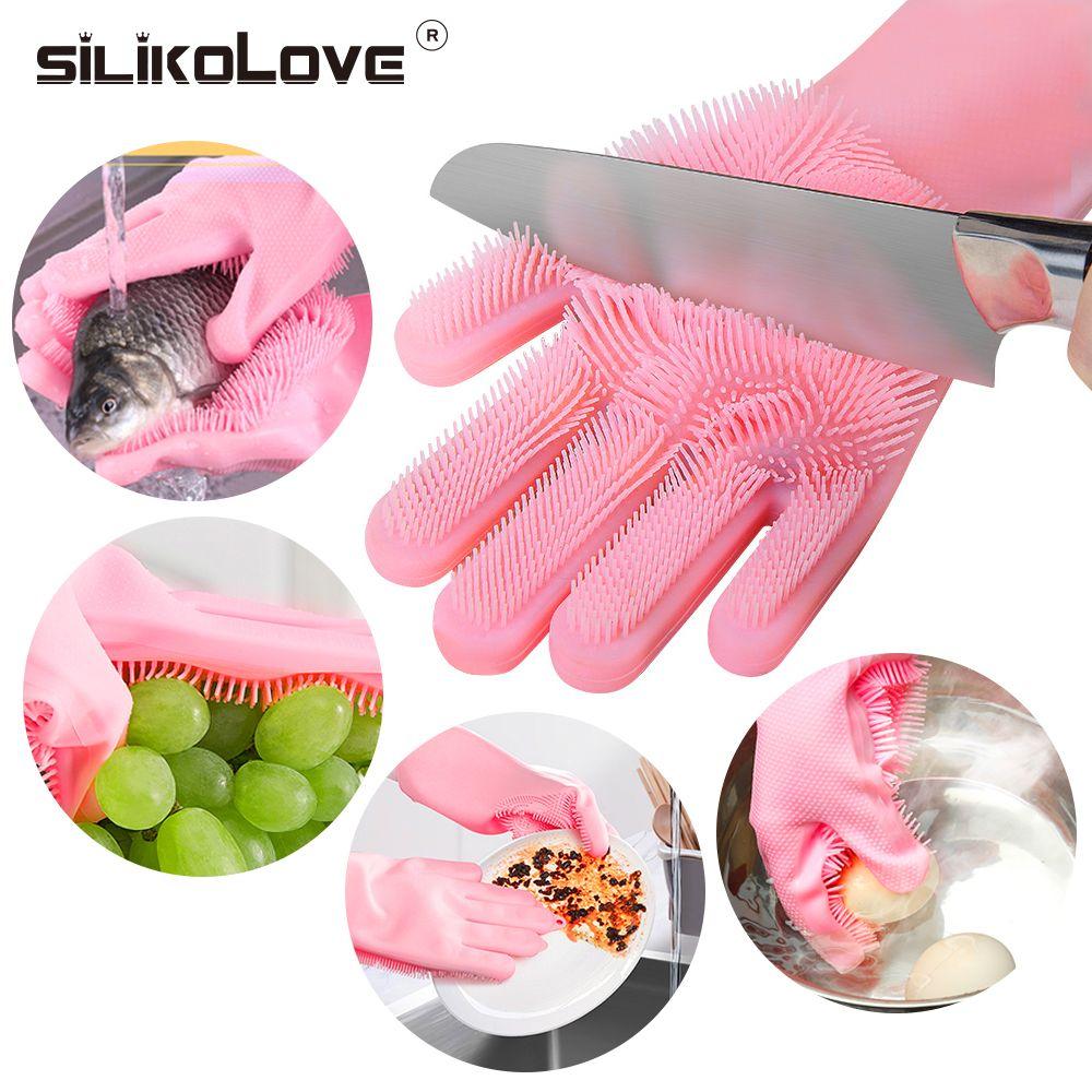SILIKOLOVE magique Silicone plat gants de lavage accessoires de cuisine gant vaisselle outils ménagers pour le nettoyage de voiture brosse pour animaux de compagnie