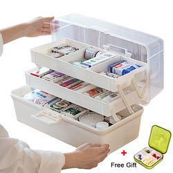 Caja de almacenamiento de plástico caja organizadora de medicamentos 3 capas Multi-funcional portátil medicina gabinete familia caja de Kit de emergencia