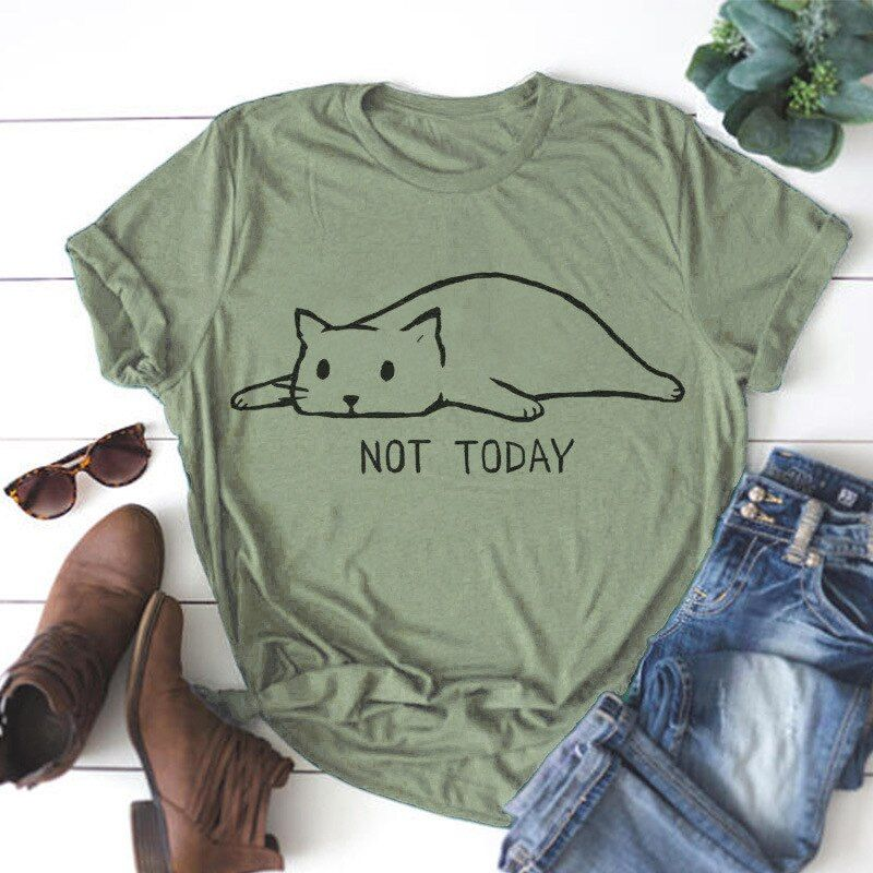 Grande taille S-5XL nouveau joli chat lettre impression t-shirt femmes 100% coton O cou à manches courtes été T-Shirts hauts décontracté t-shirts