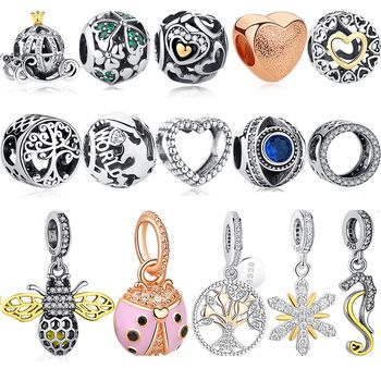 Authentic 925 Sterling Silver Ladybug Bee Crown Gold Love Heart Beads Fit Original Pandora Charms Bracelet DIY Jewelry Making