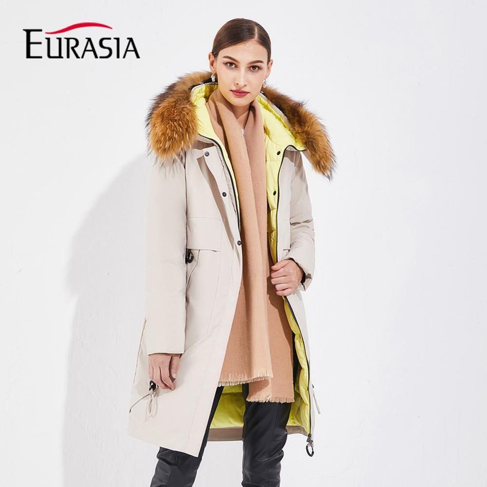 EURASIA 2019 Neue Lange Frauen Winter Jacke Voll Oberbekleidung Winddicht Mantel Echtpelz Parkas Dicke Warme Oversize Kleidung YD1877