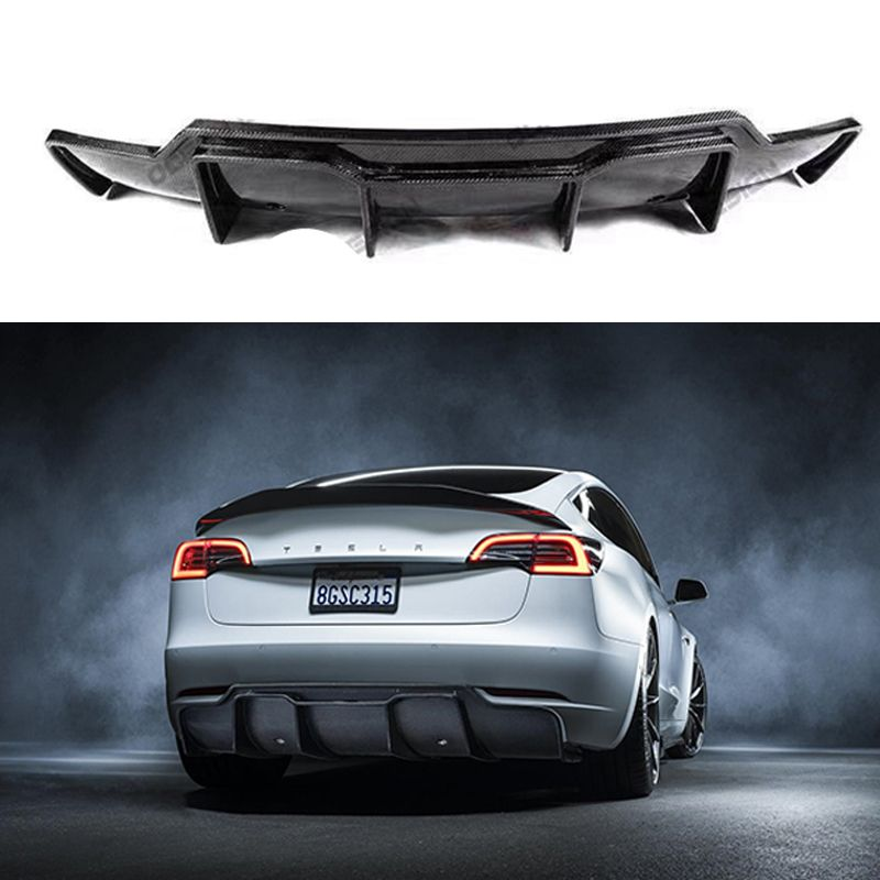 Auto Styling V Stil Carbon Fiber Hinten Lip Real Carbon Fiber Hinten Diffusor Körper Kit Für Tesla modell 3 2017 -UP