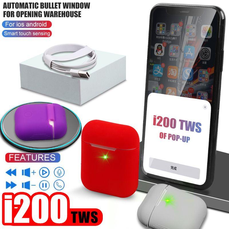 i200 Tws Aire 2 bluetooth earphone PK W1 H1 Sensor Tap control Earbuds Wireless charging PK i80 i10 i12 i90 i30 i60 i20 i100 TWS