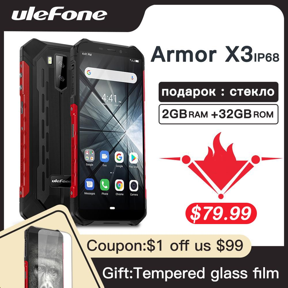 Smartphone robuste Ulefone Armor X3 Android 9.0 IP68 Android 5.5 2 GB 32GB 5000mAh 3G téléphone portable robuste Android