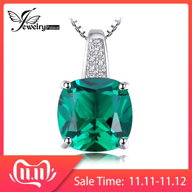 Jpalace 3ct collier pendentif Nano émeraude simulé 925 pierres précieuses en argent Sterling collier ras du cou déclaration femm