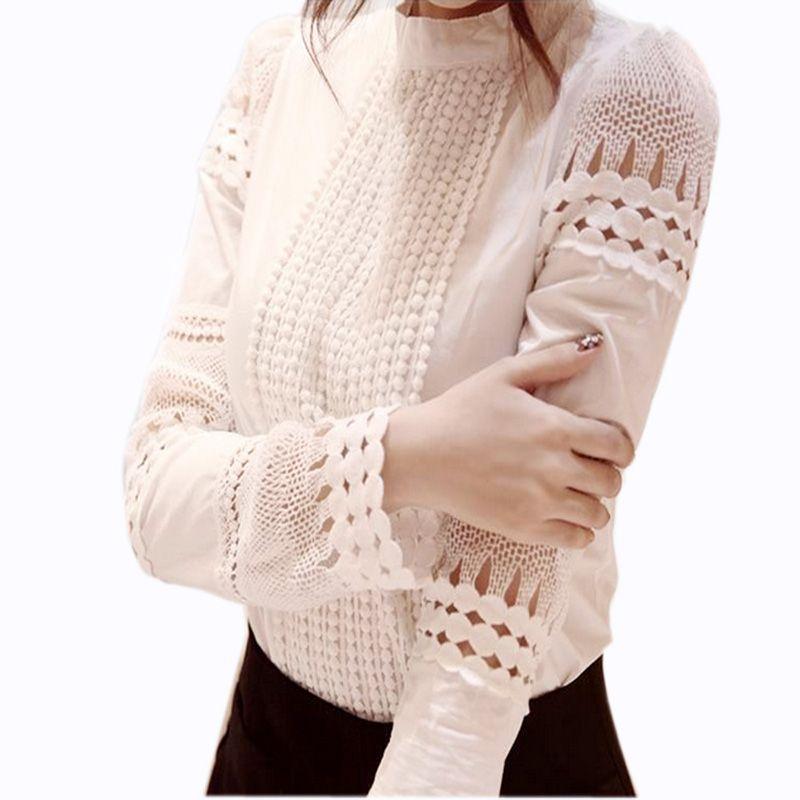 S-5XL automne femmes chemises blanc longue Seeve Blouses mince tops basiques grande taille creux dentelle chemises travail bureau dame Blusas J2531