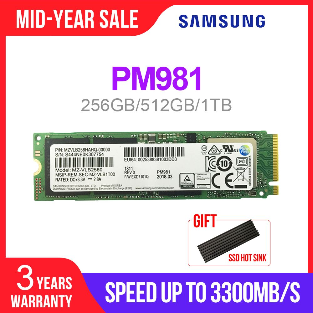 SAMSUNG SSD M.2 PM981 256 GB 512 GB 1 to disque dur à semi-conducteurs M2 NVMe PCIe 3.0x4 NVMe 1.3 ordinateur portable interne disco duro TLC