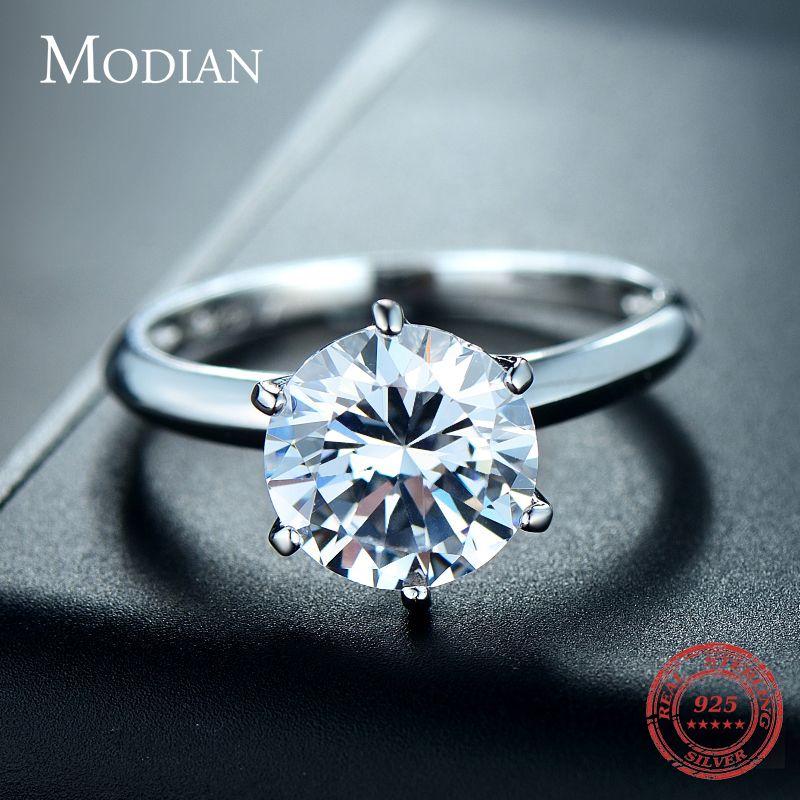 3Ct Modian 2019 925 bague en argent Sterling clair Six griffes cubique zircone mode de fiançailles de mariage bijoux classiques pour les femmes