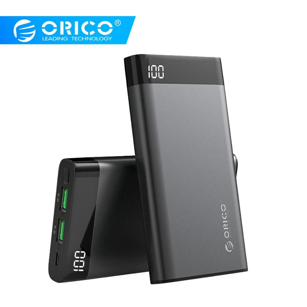 ORICO 10000mAh Power Bank Dual USB 5V2A with Display Screen Poverbank Portable External Battery Pack For Xiaomi Mobile Phone
