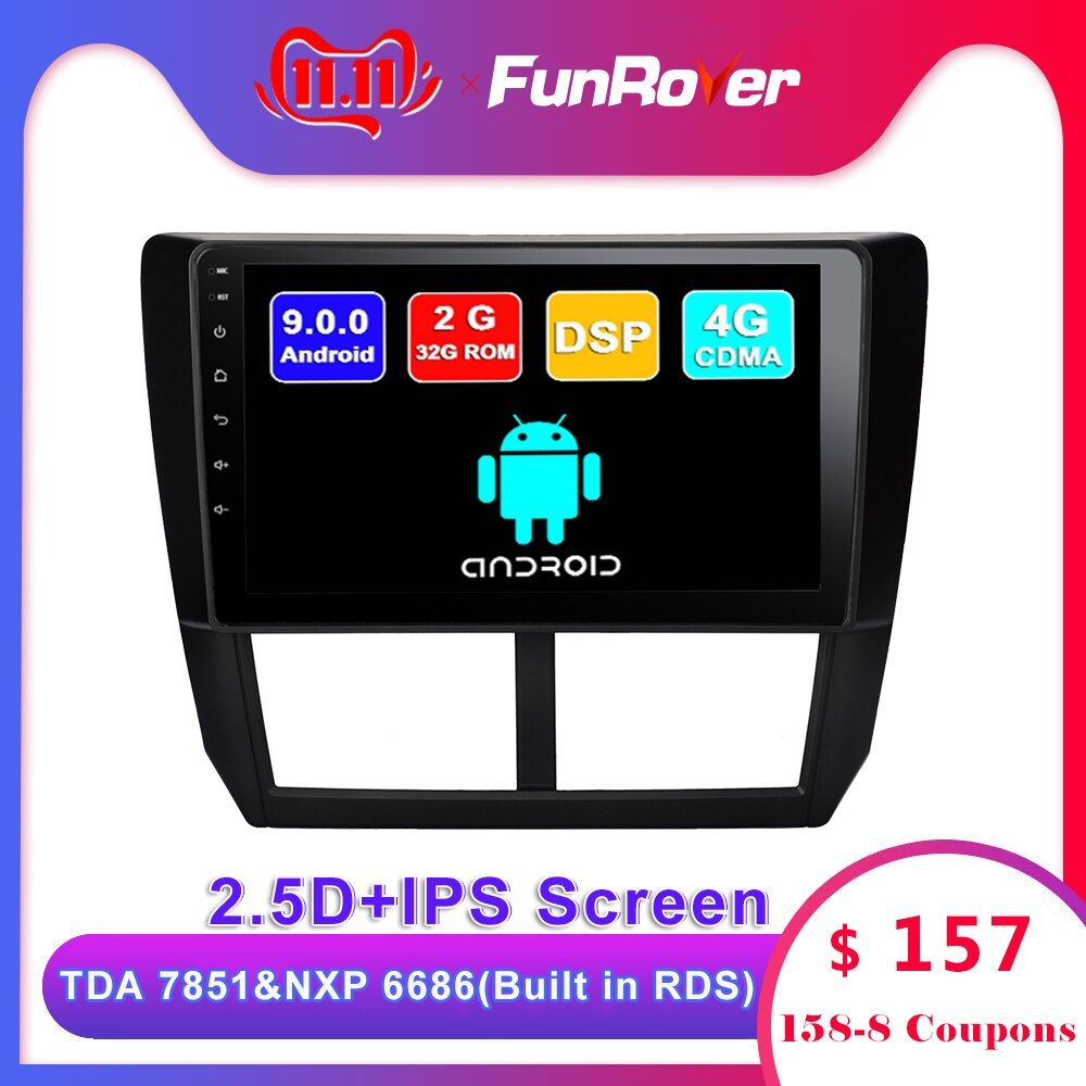 FUNROVER android 9.0 2.5D + IPS auto dvd gps-player Für Subaru Forester 2008-2012 auto radio multimedia stereo navigation DSP RDS BT