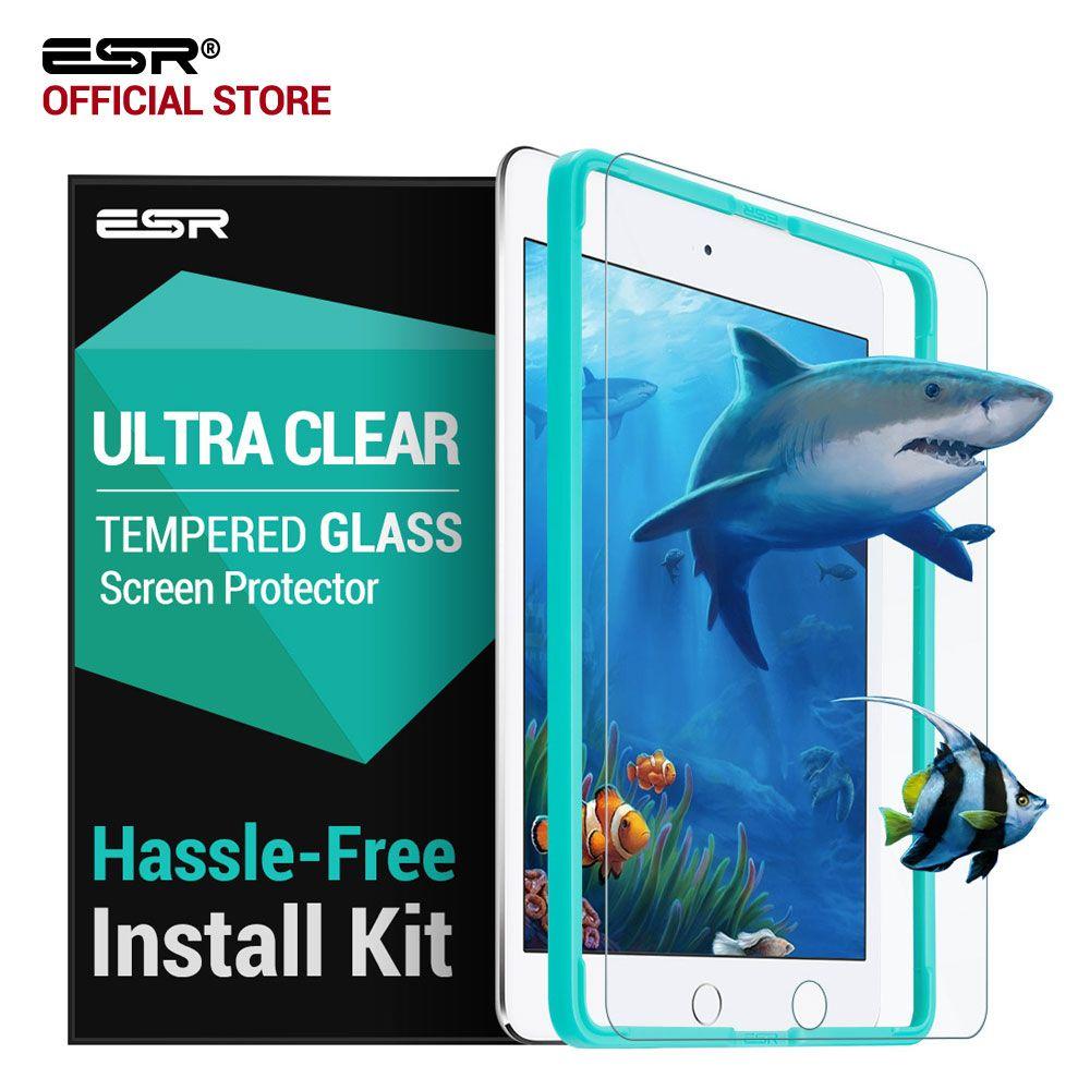Protecteur d'écran pour iPad 9.7 2017, Film de verre trempé applicateur libre ESR pour iPad 2018 nouvelle version/pour iPad Pro 9.7 pouces Air2