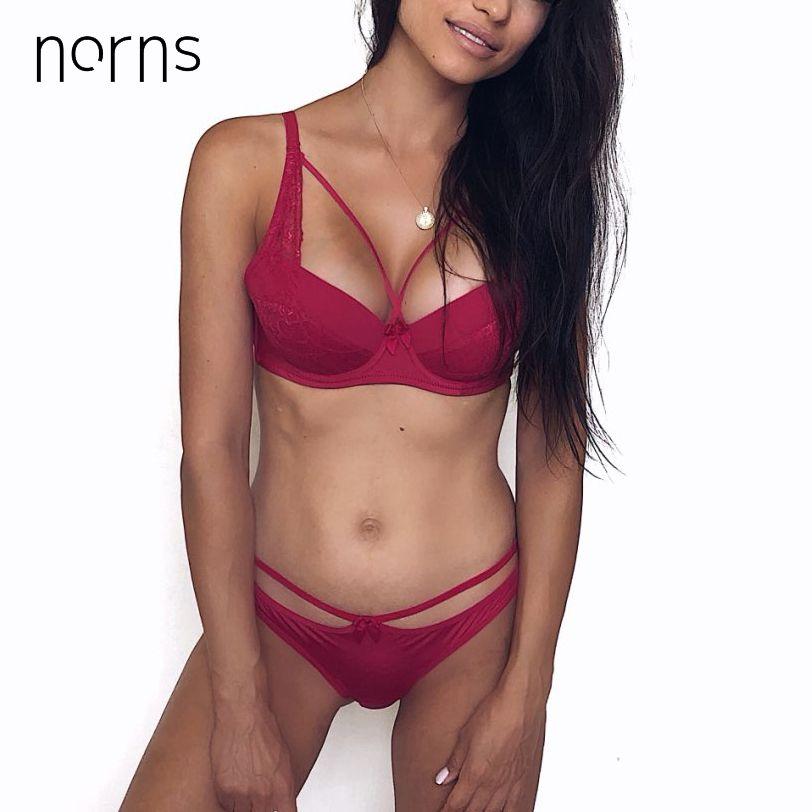 Norns femmes sexy ensemble de sous-vêtements dentelle lingerie ensemble push up grande taille soutien-gorge ensemble de lin rouge lingerie soutien-gorge et culotte ensemble bralette