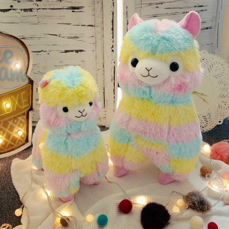 Arc-en-ciel alpaga peluche 3 taille poupées pour enfants haute qualité coton doux bébé Brinquedos animaux pour cadeau