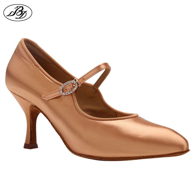Femmes chaussures de danse de salon strass BD 137 lune Tan Satin talon haut dames chaussures de danse Standard anti-dérapant semelle Dancesport