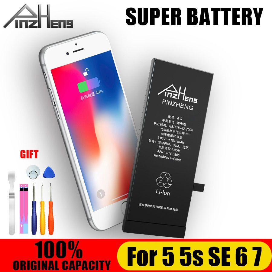 PINZHENG nouvelle batterie de téléphone originale 100% pour iphone 5 S 5 SE 6 7 batterie d'origine avec Kit de machines-outils Batteries mobiles 0 Cycle