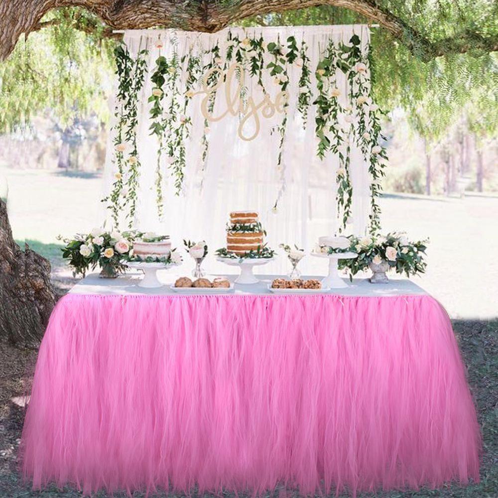 Beaucoup de Tulle Tutu jupe de Table Tulle vaisselle pour décoration de mariage bébé douche fête de mariage Table plinthe Textile à la maison
