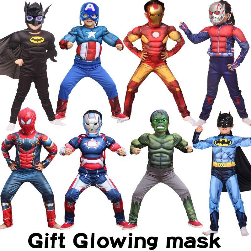 Halloween garçons Muscle vêtements brillant masque Super héros capitaine amérique Costume SpiderMan Hulk Batman Avengers Cosplay Costumes