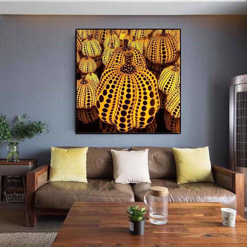 Yayoi Kusama jaune citrouille toile peinture moderne affiches et impressions murales photos pour salon Cuadros décor à la maison sans cadre