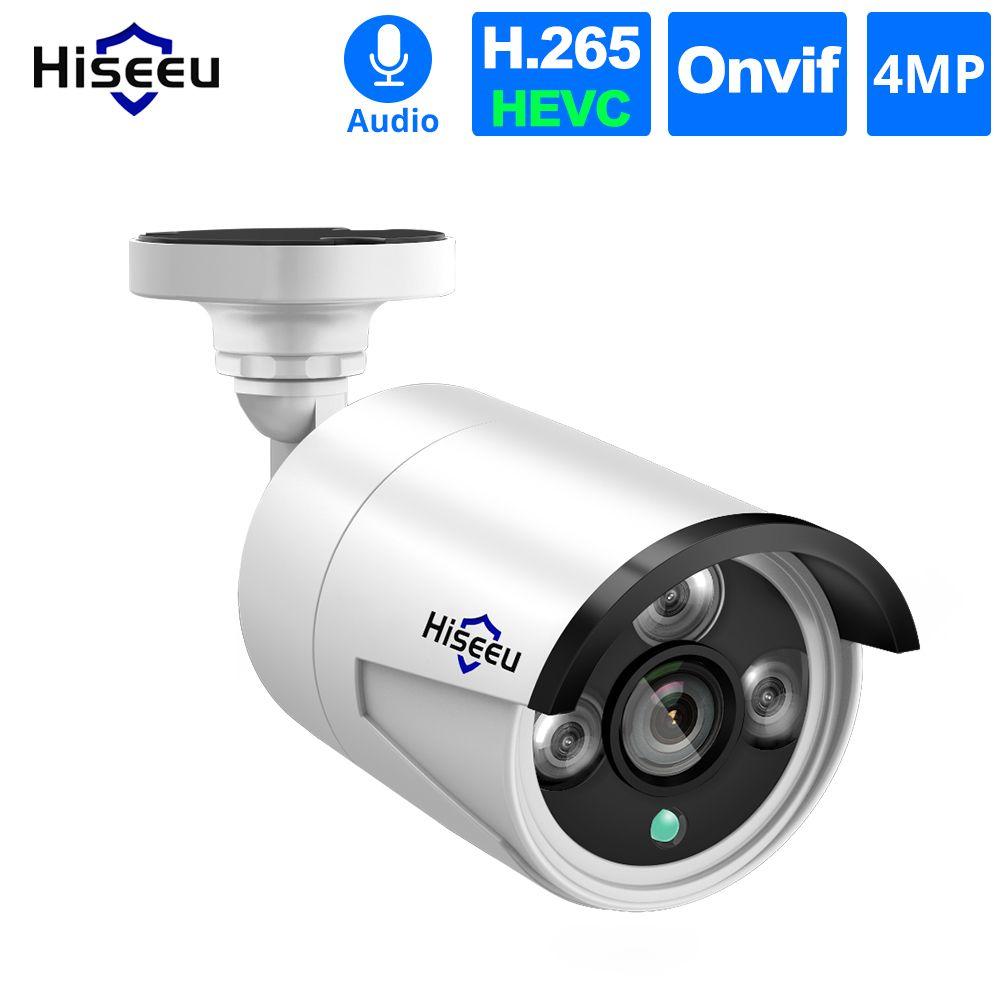 Hiseeu 4 teile/los 4MP POE IP Kamera Audio H.265 Sicherheit Im Freien Wasserdichte Kamera CCTV Video Überwachung P2P ONVIF