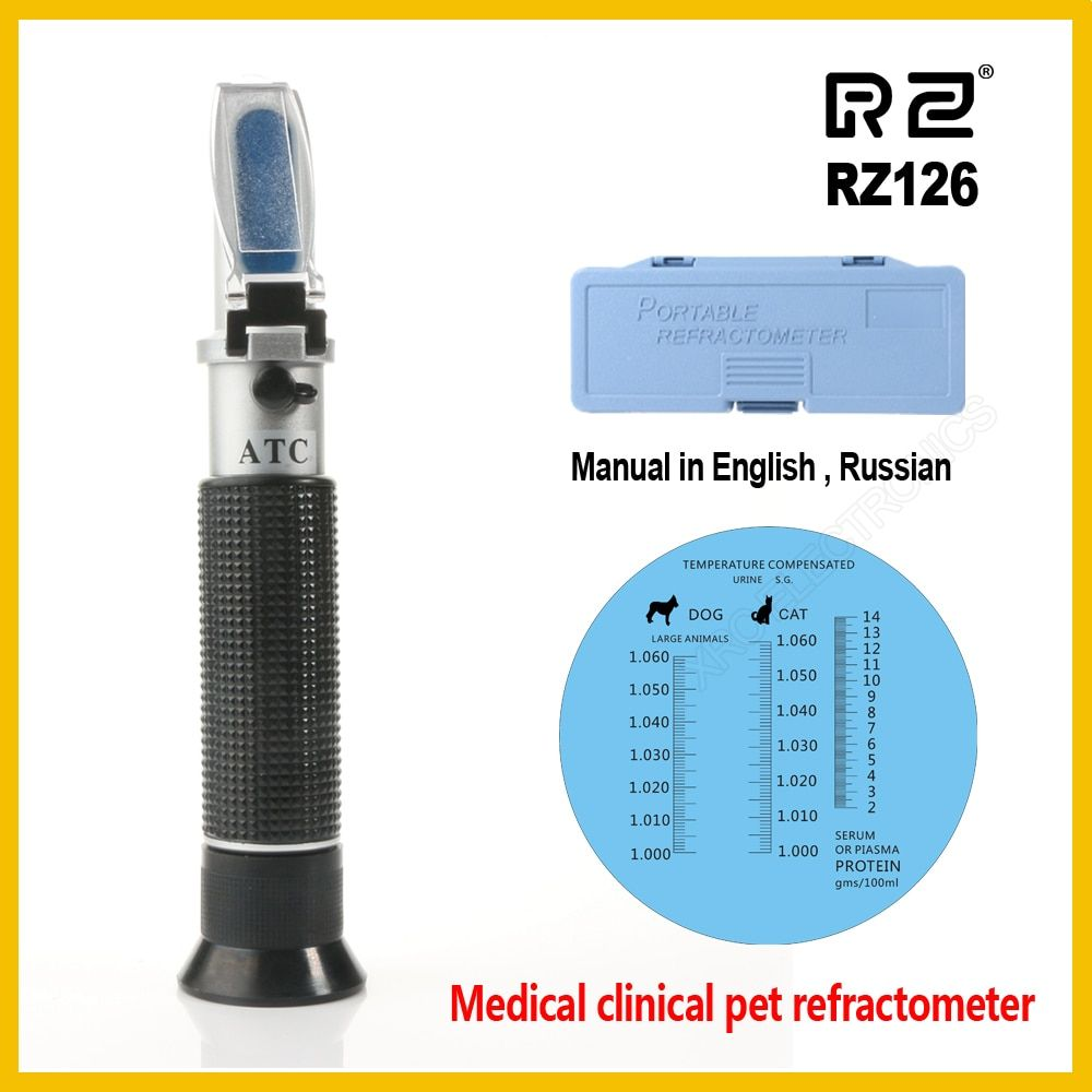 RZ Refractometer Clinical Medical House Pet Dog Cat Protein Serum Plasma Hemoglobin Tester Urine Specific Gravity RZ126 ATC