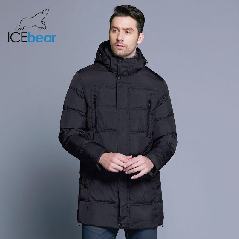 ICEbear 2019 Top Qualität Warm herren Warme Winter Jacke Winddicht Casual Oberbekleidung Dicken Medium Langen Mantel Männer Parka 16M899D