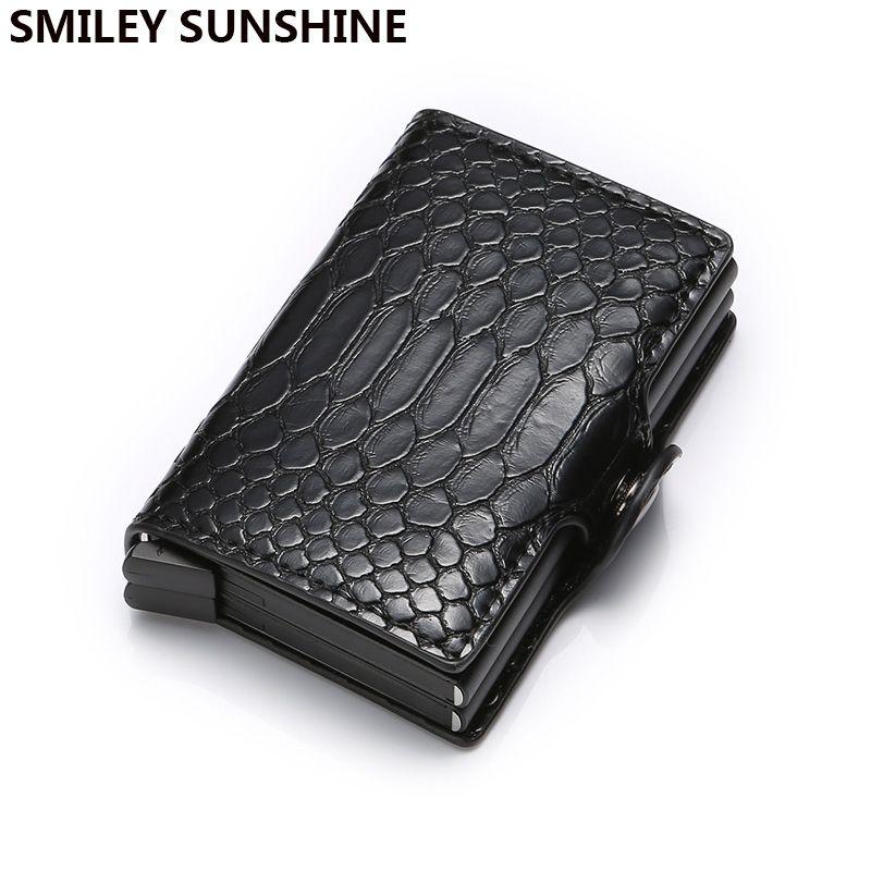 Rfid bloquant id porte-carte de crédit sac à main hommes portefeuille intelligent en aluminium métal minimaliste portefeuille porte-carte de crédit d'affaires Carteira